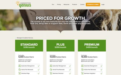 Screenshot of Pricing Page subscriptiongenius.com - Subscription Management Software and Mail List Management System :: Pricing - captured Sept. 18, 2016