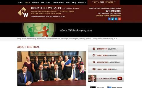 Screenshot of About Page ny-bankruptcy.com - About Us     Long Island, Nassau and Suffolk County Bankruptcy and Foreclosure Attorney   NY-Bankruptcy.com   Ronald D. Weiss, PC - captured April 24, 2018