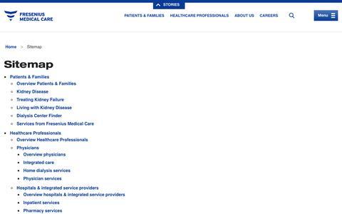 Sitemap | Fresenius Medical Care