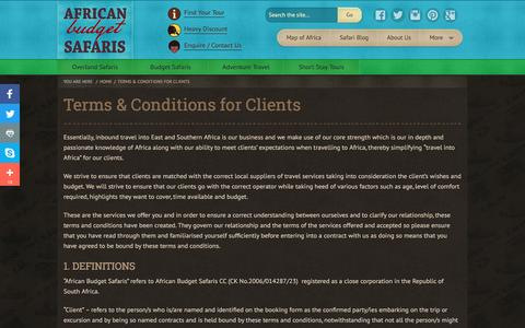 Screenshot of Terms Page africanbudgetsafaris.com - Terms & Conditions for Clients - captured May 29, 2017