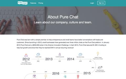 Screenshot of About Page purechat.com - Learn About Pure Chat - captured Dec. 8, 2016