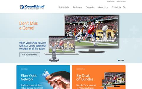 Screenshot of Home Page consolidated.com - Consolidated Communications: Internet, Digital TV, Phone, Business Fiber, Data & Cloud Service, and IT Services - captured Jan. 15, 2016