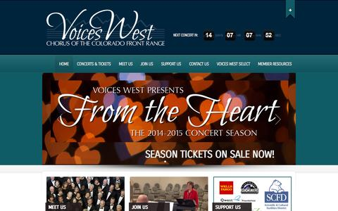 Screenshot of Home Page voiceswest.org - Voices West | Chorus of the Colorado Front Range - captured Oct. 6, 2014