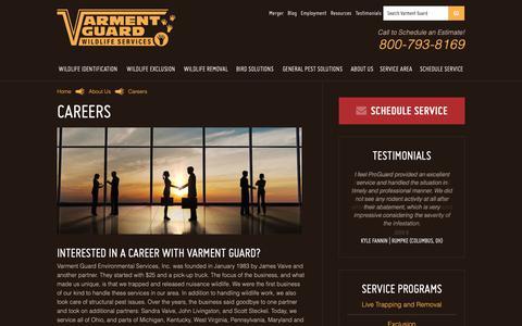 Screenshot of Jobs Page varmentguard.com - Pest Management Careers | Varment Guard - captured Oct. 18, 2018