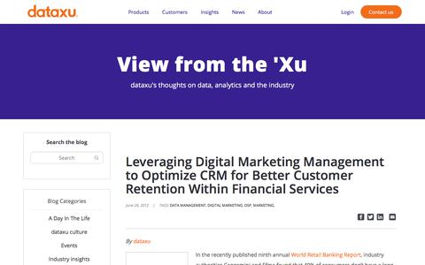 Screenshot of Services Page dataxu.com - Leveraging Digital Marketing Management to Optimize CRM for Better Customer Retention Within Financial Services - dataxu, inc. - captured Nov. 18, 2019
