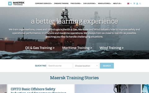 Screenshot of Home Page maersktraining.com - Maersk Training - captured May 27, 2017