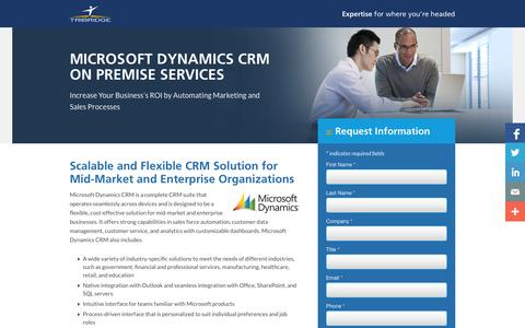 Screenshot of Landing Page tribridge.com - Microsoft Dynamics CRM Solutions - captured Oct. 27, 2014