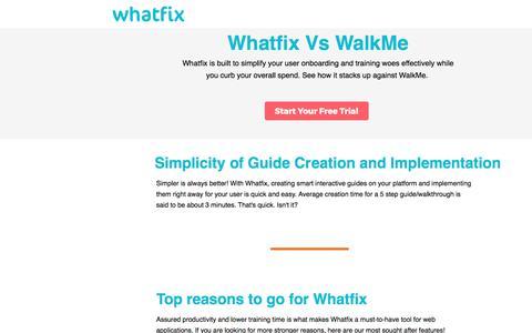 Screenshot of Landing Page whatfix.com - Best Walkme Alternative - captured July 13, 2017