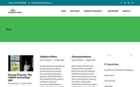 Screenshot of Blog communitypower.ca - Blog   Community Power - captured July 7, 2018