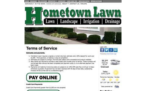 Screenshot of Terms Page hometownlawn.com - Hometown Lawn Terms of Service | Hometown Lawn, LLC - captured Oct. 3, 2014