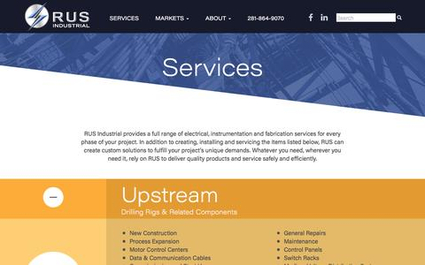 Screenshot of Services Page rusindust.com - Services - RUS Industrial - captured Dec. 1, 2016