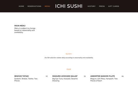Screenshot of Menu Page ichisushi.com - Menu — ICHI Sushi - captured May 26, 2017