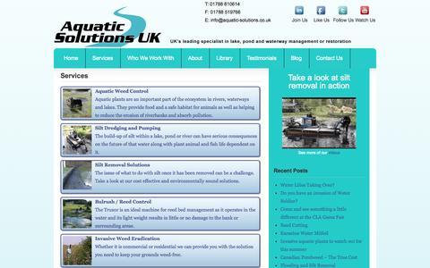 Screenshot of Services Page aquatic-solutions.co.uk - Aquatic Weed Control Experts | Aquatic Solutions - captured Oct. 4, 2014