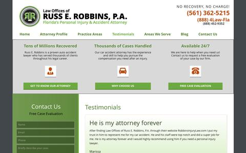 Screenshot of Testimonials Page robbinsinjurylaw.com - Florida's Car Accident Attorney | Testimonials - captured Oct. 31, 2016