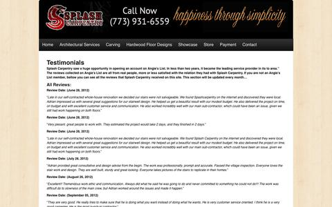 Screenshot of Testimonials Page splashcarpentry.com - Splash Carpentry -   Testimonials - captured Jan. 13, 2016
