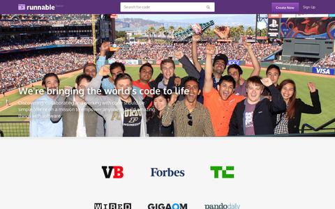 Screenshot of About Page runnable.com - About - Company Information and Team Members - Runnable - captured Sept. 10, 2014