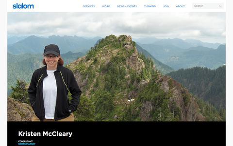Screenshot of Team Page slalom.com - Kristen McCleary | Slalom - captured Jan. 20, 2018