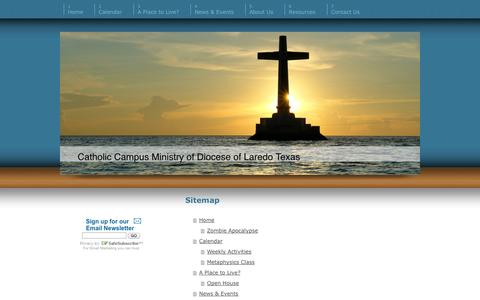 Screenshot of Site Map Page newmanclub.us - Home - Catholic Campus Ministry of Laredo Texas - captured Oct. 7, 2014
