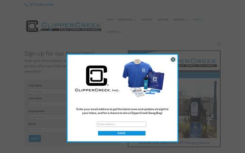 Screenshot of Signup Page clippercreek.com - Stay Informed with the ClipperCreek Newsletter - captured July 19, 2018
