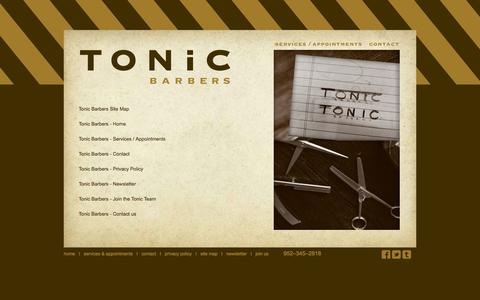 Screenshot of Site Map Page tonicbarbers.com - Tonic Barbers - Privacy Policy - captured Oct. 9, 2014