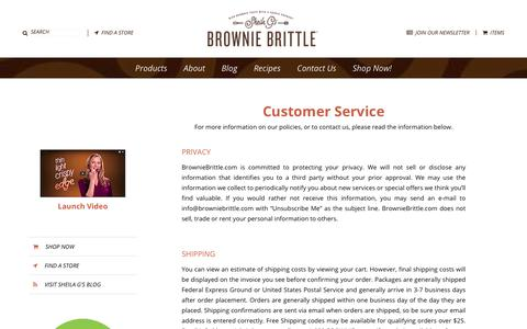 Screenshot of Support Page browniebrittle.com - Customer Service - Brownie Brittle - captured July 14, 2017