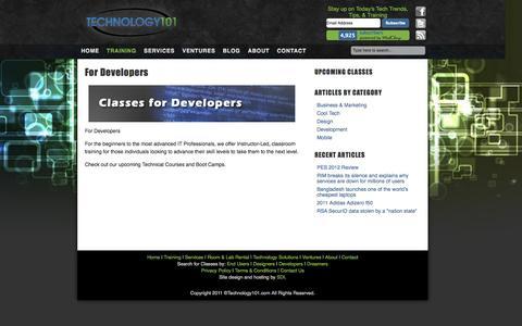 Screenshot of Developers Page technology101.com - For Developers | Technology 101 - captured Oct. 7, 2014