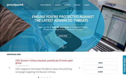 Screenshot of Home Page proofpoint.com - Leader in Advanced Cybersecurity Solutions | Proofpoint - captured Oct. 19, 2015