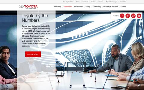 Screenshot of Maps & Directions Page toyota.com - Toyota USA | Toyota Operations Map | Design, Engineering & Marketing - captured April 14, 2018
