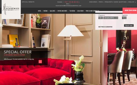 Screenshot of Home Page hotel-des-academies.com - BOUTIQUE HOTEL DES ACADEMIES ET DES ARTS PARIS - OFFICIAL WEBSITE - captured Jan. 23, 2015