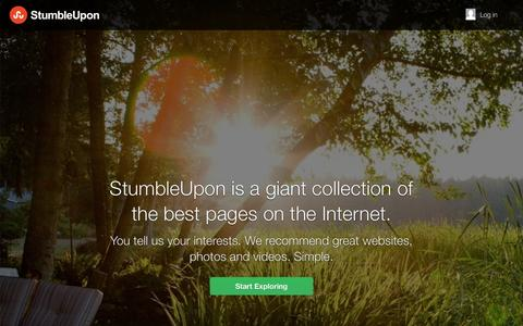 Screenshot of Home Page stumbleupon.com - Explore more. Web pages, photos, and videos | StumbleUpon.com - captured Oct. 10, 2014