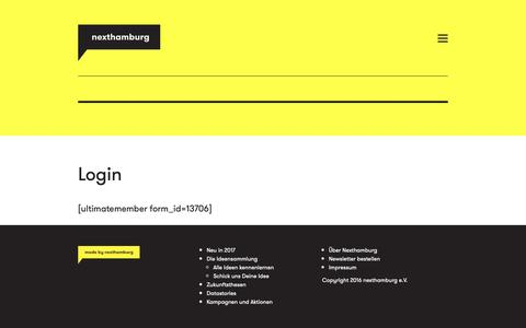 Screenshot of Login Page nexthamburg.de - Login – Nexthamburg - captured Oct. 20, 2018