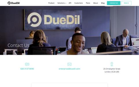 Screenshot of Contact Page duedil.com - Contact  | DueDil - captured April 4, 2018