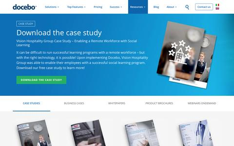 Screenshot of Case Studies Page docebo.com - Docebo E-Learning platforms case study and business case - captured April 21, 2017