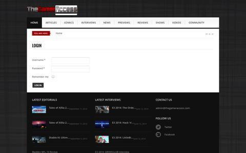 Screenshot of Login Page thegameraccess.com - The Gamer Access - The Gamer Access - TheGamerAccess.com - captured Sept. 18, 2014