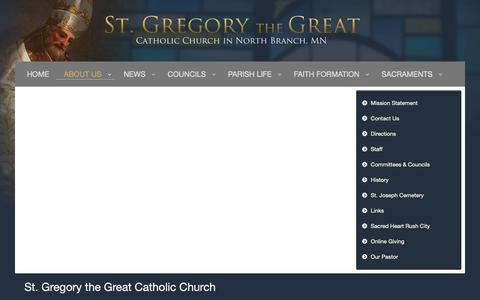 Screenshot of About Page stgregorynb.org - About Us - captured Nov. 16, 2018