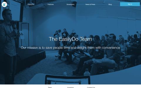 Screenshot of About Page easilydo.com - About The EasilyDo Team - captured Nov. 18, 2015