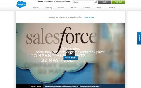 Screenshot of About Page salesforce.com - About us - Salesforce.com - captured Oct. 10, 2014