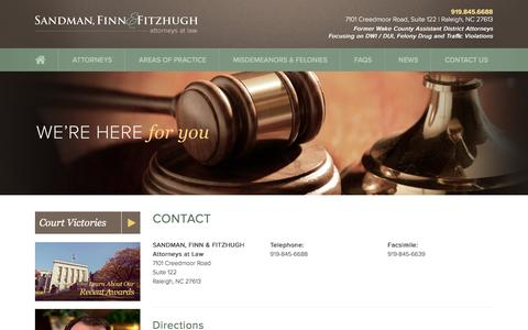 Screenshot of Contact Page capitalcriminaldefense.com - Contact a Defense Lawyer in Raleigh NC | Sandman, Finn & Fitzhugh - captured Dec. 7, 2015