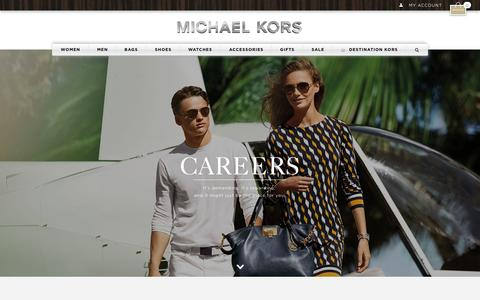 Screenshot of Jobs Page michaelkors.com - Careers | Michael Kors| Michael Kors - captured Oct. 29, 2014