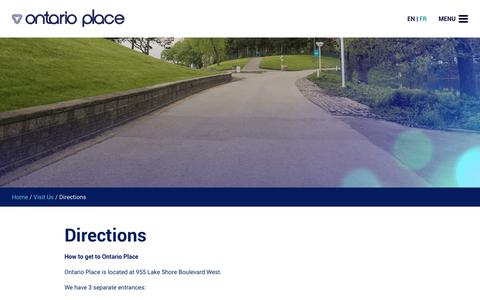 Screenshot of Maps & Directions Page ontarioplace.com - Directions - Ontario Place - captured Sept. 21, 2018
