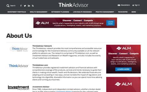 Screenshot of About Page thinkadvisor.com - About Us | ThinkAdvisor - captured Jan. 14, 2020