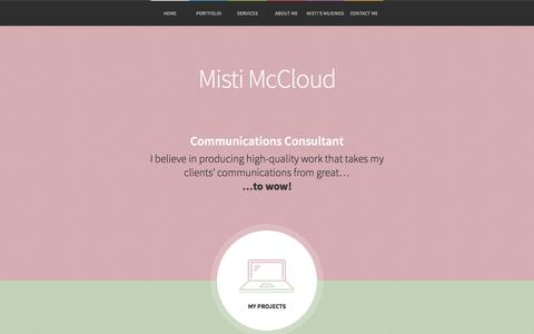 Screenshot of Home Page mistimccloud.com - Misti McCloud   Communications Consultant - captured Oct. 1, 2014