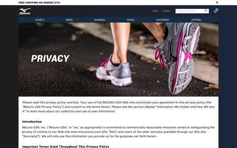 Screenshot of Privacy Page mizunousa.com - Privacy                                           Mizuno Sports Equipment   Mizuno USA - captured May 2, 2017