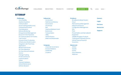 Screenshot of Site Map Page calamp.com - Site Map   CalAmp - captured July 18, 2014
