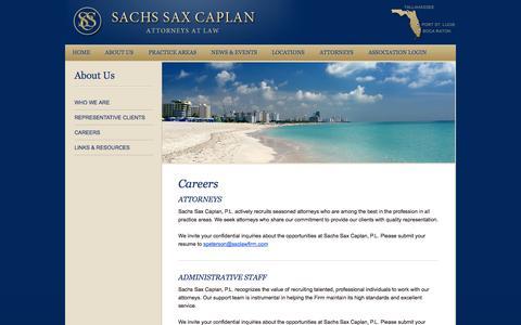 Screenshot of Jobs Page ssclawfirm.com - Sachs Sax Caplan - captured Oct. 4, 2014