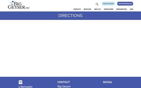 Screenshot of Maps & Directions Page biggeyser.com - Directions | Big Geyser Inc - captured Feb. 7, 2016