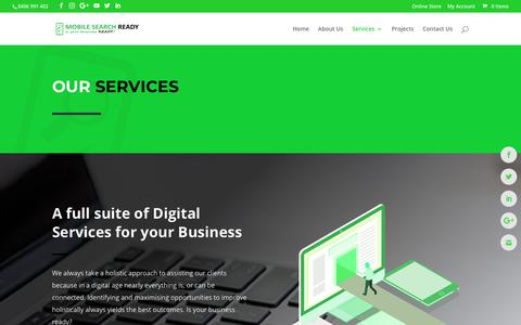 Screenshot of Services Page mobilesearchready.com.au - Services - captured Oct. 20, 2018