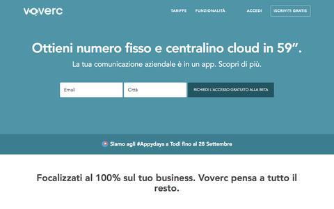 "Screenshot of Home Page voverc.com - Voverc | numero fisso e centralino cloud in 59"" - captured Sept. 26, 2014"