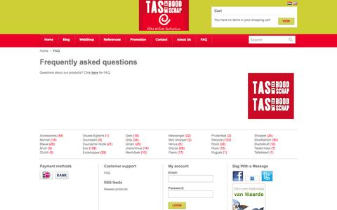 Screenshot of FAQ Page ellenwillink.nl - Frequently asked questions - Bag With a Message - captured Oct. 28, 2014