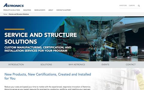 Screenshot of Services Page astronics.com - Service and Structure Solutions - captured Sept. 19, 2019